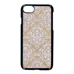 Damask1 White Marble & Sand Apple Iphone 8 Seamless Case (black) by trendistuff
