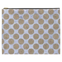 Circles2 White Marble & Sand (r) Cosmetic Bag (xxxl)  by trendistuff