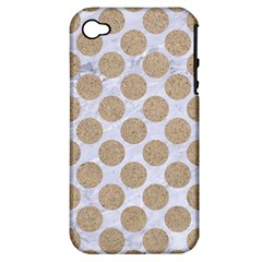 Circles2 White Marble & Sand (r) Apple Iphone 4/4s Hardshell Case (pc+silicone) by trendistuff
