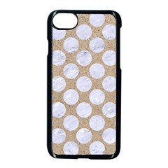 Circles2 White Marble & Sand Apple Iphone 7 Seamless Case (black) by trendistuff