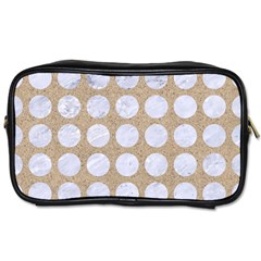 Circles1 White Marble & Sand Toiletries Bags 2 Side by trendistuff