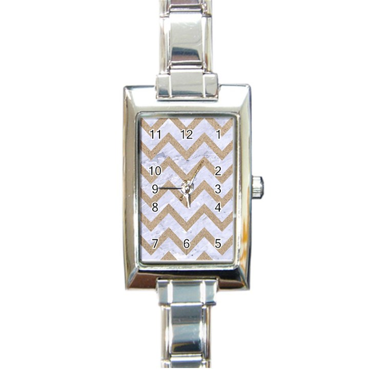 CHEVRON9 WHITE MARBLE & SAND (R) Rectangle Italian Charm Watch