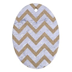 Chevron9 White Marble & Sand (r) Ornament (oval) by trendistuff