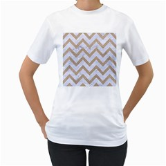 Chevron9 White Marble & Sand (r) Women s T Shirt (white) (two Sided)