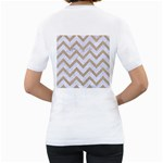 CHEVRON9 WHITE MARBLE & SAND (R) Women s T-Shirt (White) (Two Sided) Back