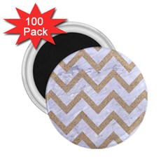 Chevron9 White Marble & Sand (r) 2 25  Magnets (100 Pack)  by trendistuff