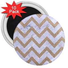 Chevron9 White Marble & Sand (r) 3  Magnets (10 Pack)  by trendistuff