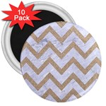 CHEVRON9 WHITE MARBLE & SAND (R) 3  Magnets (10 pack)  Front