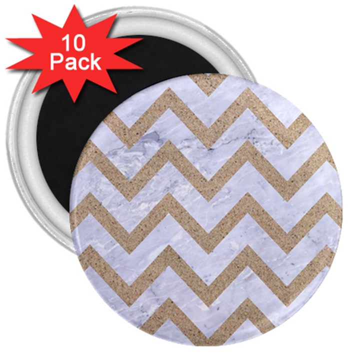 CHEVRON9 WHITE MARBLE & SAND (R) 3  Magnets (10 pack)