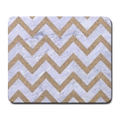 Chevron9 White Marble & Sand (r) Large Mousepads by trendistuff