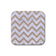 Chevron9 White Marble & Sand (r) Rubber Square Coaster (4 Pack)  by trendistuff