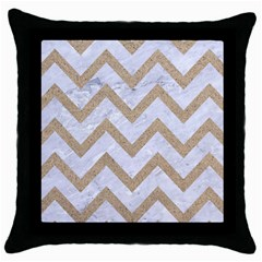 Chevron9 White Marble & Sand (r) Throw Pillow Case (black) by trendistuff