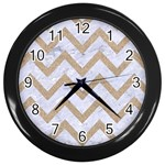 CHEVRON9 WHITE MARBLE & SAND (R) Wall Clocks (Black) Front
