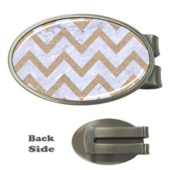 Chevron9 White Marble & Sand (r) Money Clips (oval)