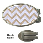 CHEVRON9 WHITE MARBLE & SAND (R) Money Clips (Oval)  Front