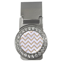Chevron9 White Marble & Sand (r) Money Clips (cz)