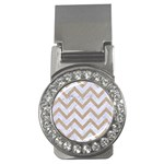 CHEVRON9 WHITE MARBLE & SAND (R) Money Clips (CZ)  Front