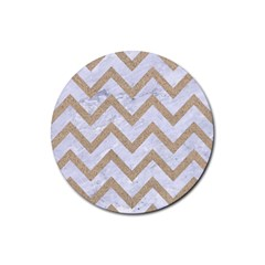 Chevron9 White Marble & Sand (r) Rubber Round Coaster (4 Pack)  by trendistuff