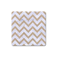 Chevron9 White Marble & Sand (r) Square Magnet by trendistuff