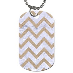 Chevron9 White Marble & Sand (r) Dog Tag (two Sides) by trendistuff