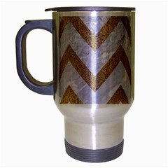 Chevron9 White Marble & Sand (r) Travel Mug (silver Gray) by trendistuff