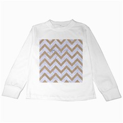 Chevron9 White Marble & Sand (r) Kids Long Sleeve T Shirts