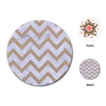 CHEVRON9 WHITE MARBLE & SAND (R) Playing Cards (Round)  Front