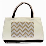 CHEVRON9 WHITE MARBLE & SAND (R) Basic Tote Bag Front