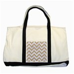 CHEVRON9 WHITE MARBLE & SAND (R) Two Tone Tote Bag Front