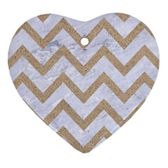 Chevron9 White Marble & Sand (r) Heart Ornament (two Sides) by trendistuff