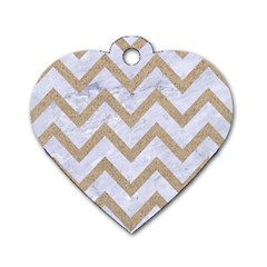 Chevron9 White Marble & Sand (r) Dog Tag Heart (two Sides) by trendistuff