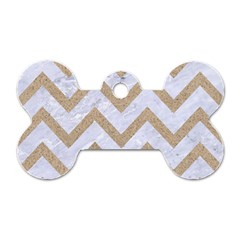 Chevron9 White Marble & Sand (r) Dog Tag Bone (two Sides) by trendistuff
