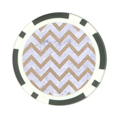 Chevron9 White Marble & Sand (r) Poker Chip Card Guard by trendistuff
