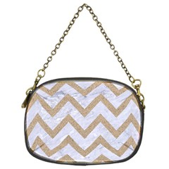 Chevron9 White Marble & Sand (r) Chain Purses (two Sides)