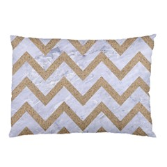 Chevron9 White Marble & Sand (r) Pillow Case by trendistuff