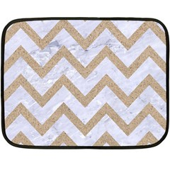 Chevron9 White Marble & Sand (r) Double Sided Fleece Blanket (mini)  by trendistuff