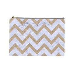 Chevron9 White Marble & Sand (r) Cosmetic Bag (large)  by trendistuff
