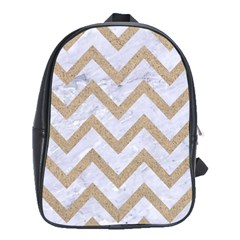 Chevron9 White Marble & Sand (r) School Bag (large) by trendistuff