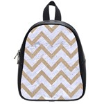 CHEVRON9 WHITE MARBLE & SAND (R) School Bag (Small) Front