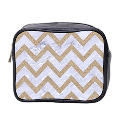 Chevron9 White Marble & Sand (r) Mini Toiletries Bag 2 Side