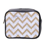 CHEVRON9 WHITE MARBLE & SAND (R) Mini Toiletries Bag 2-Side Front