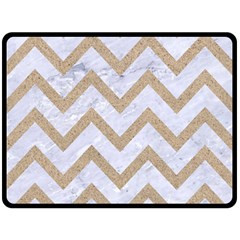 Chevron9 White Marble & Sand (r) Fleece Blanket (large)  by trendistuff