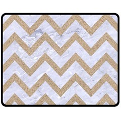 Chevron9 White Marble & Sand (r) Fleece Blanket (medium)  by trendistuff