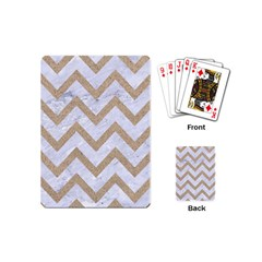Chevron9 White Marble & Sand (r) Playing Cards (mini)  by trendistuff