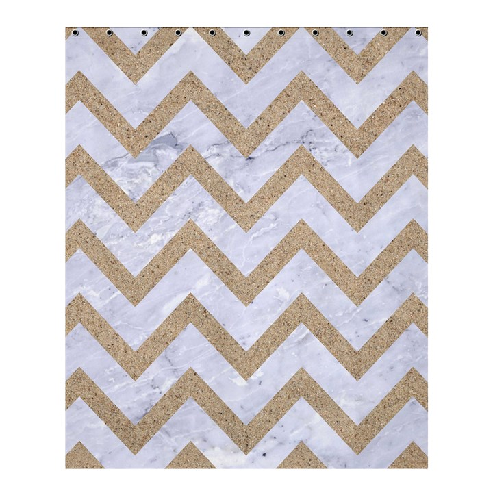 CHEVRON9 WHITE MARBLE & SAND (R) Shower Curtain 60  x 72  (Medium)