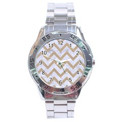 Chevron9 White Marble & Sand (r) Stainless Steel Analogue Watch by trendistuff