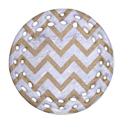 Chevron9 White Marble & Sand (r) Round Filigree Ornament (two Sides)