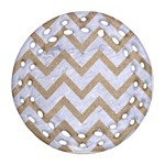 CHEVRON9 WHITE MARBLE & SAND (R) Round Filigree Ornament (Two Sides) Back
