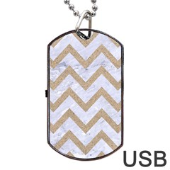 Chevron9 White Marble & Sand (r) Dog Tag Usb Flash (one Side) by trendistuff
