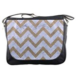 CHEVRON9 WHITE MARBLE & SAND (R) Messenger Bags Front